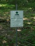 Deer/Invasive Non-native Plants Project deer exlosure sign, Gordon Natural Area
