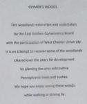 East Goshen Township Forest Restoration Project, Clymer's Woods Sign Text Detail