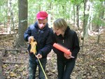 Carbon Stock Pilot Study; GEO 402/585 Field Methods; Dr. Joy Fritschle, instructor; Taking a measurement