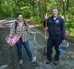 Dr. Martin Helmke and grad student Sarah Sharkey conducting soils research in the Gordon Natural Area by Gerard Hertel
